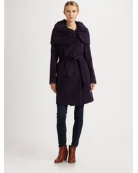 Cole Haan - Purple Oversized-Collar Coat - Lyst