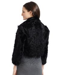 Cut25 by Yigal Azrouël Black Curly Lamb Fur Motorcycle Jacket