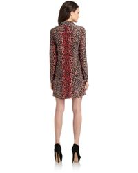Equipment Multicolor Leopard Print Silk Shirt-Dress