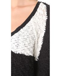 Free People White Songbird Rugby Stripe Bouclé Sweater