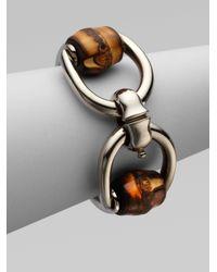 Gucci - Metallic Bamboo Horsebit Sterling Silver Bracelet - Lyst