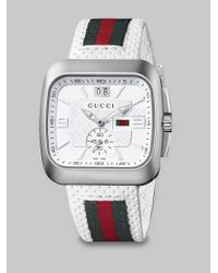 Gucci | White Square Web & Leather Strap Watch | Lyst