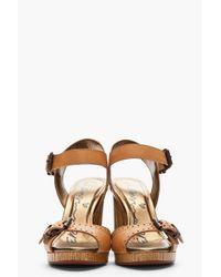 Lanvin Brown Tan Leather and Wood Grain Sandal Heels