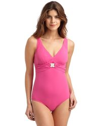 Lisa Curran Pink One-Piece Swimsuit