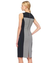 Michael Kors Black Solidpanel Striped Ponte Dress
