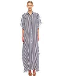 Michael Kors | Blue Striped Georgette Maxi Shirtwaist Caftan | Lyst