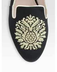 Miu Miu Black Embroidered Satin Damask Crest Smoking Slippers