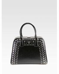 Prada Black Embellished Frame Top Handle Bag