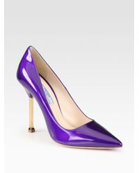 Prada Purple Patent Leather Chrome Heel Pumps
