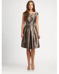 Teri Jon Metallic Brocade Dress