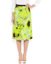 Tibi Green Athena Neon Silk, Linen And Cotton-Blend Skirt