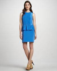Tibi | Blue Sleeveless Peplum Dress | Lyst
