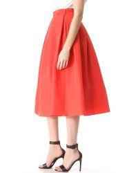 Tibi Red Silk Faille Skirt