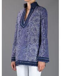 Tory Burch | Blue Printed Tunic | Lyst