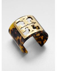 Tory Burch - Metallic Tortoiseprint Cuff Bracelet - Lyst