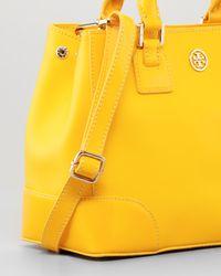 Tory Burch Yellow Robinson Mini Square Tote Bag