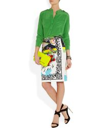 Versace   Multicolored Cotton Stretch Rocknroll Printed Pencil Skirt   Lyst