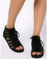 ASOS Black Asos Faraway Gladiator Flat Sandals