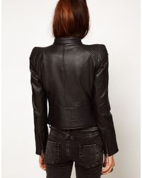 ASOS Collection Black Structured Leather Biker Jacket