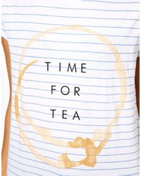 ASOS Collection White Asos Stripe T-shirt with Time For Tea Print