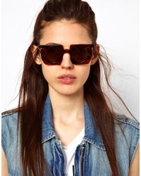 ASOS Brown Square Sunglasses with Round Lens
