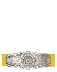 Balmain Yellow Silver Plaque Leather Belt