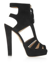 Charlotte Olympia Black Cara Suede Platform Sandals