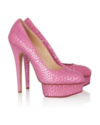 Charlotte Olympia Pink Priscilla Metallic Python Pumps