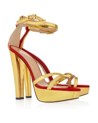 Charlotte Olympia Tokyo Metallic Leather and Suede Sandals