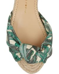 Charlotte Olympia Green Printed Canvas Sandals