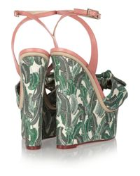 Charlotte Olympia Green Meredith Printed Canvas Wedge Sandals
