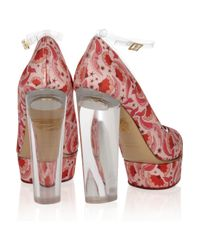 Charlotte Olympia Red Mabel Printed Satintwill Pumps