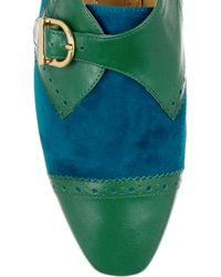 Charlotte Olympia Green Suchet Leather and Suede Loafers