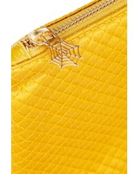 Charlotte Olympia Yellow Quilted Satin Brooch Clutch