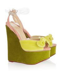 Charlotte Olympia Yellow Meredith Velvet Wedge Sandals