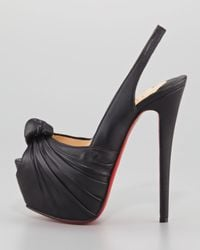 Christian Louboutin Black Miss Benin Leather Knotted Platform Red Sole Slingback