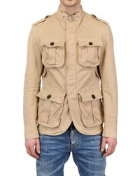 DSquared² Natural Dyed Cotton Canvas Military Jacket for men