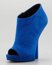 Giuseppe Zanotti Blue Open Toe Suede Fin Wedge Ankle Boot
