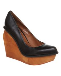 Jeffrey Campbell Broome Wooden Wedge Black Leather