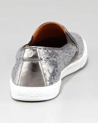 Jimmy Choo Metallic Demi Sequined Slip-on Sneaker