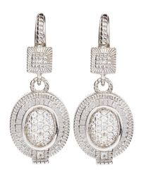 Judith Ripka | Metallic White Sapphire Oval Pave Drop Earrings | Lyst