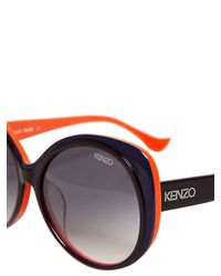 KENZO Orange Big Rounded Two Tone Acetate Sunglasses