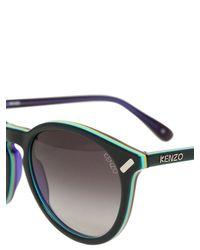 KENZO Black Rounded Two Tone Acetate Sunglasses