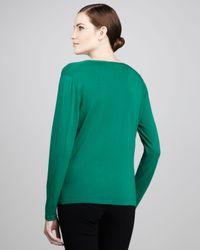 Lafayette 148 New York Green V-neck Wool Sweater