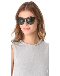 The Row | Green Rounded Leather Sunglasses | Lyst