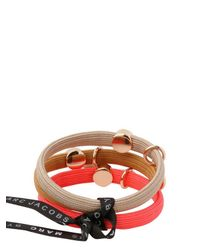 Marc By Marc Jacobs Pink Classic Marc Cluster Pony Hair Elastics