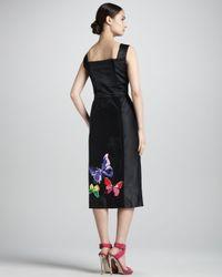 Marc Jacobs Black Embroidered Satin Midi Sheath Dress