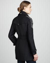 Sam Edelman Black Studded Belted Trenchcoat