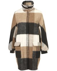 TOPSHOP Brown Hairy Check Funnel Coat