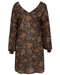 TOPSHOP Black Berry Midi Dress